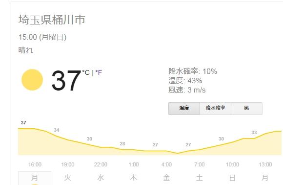 猛暑の夏です。埼玉県桶川市も密かに38℃前後連発